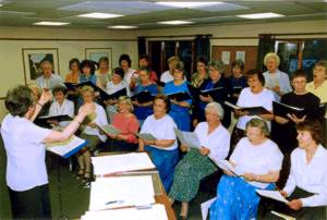 Choir reheasing in the Oak Room at the Haven Centre Crawley Down